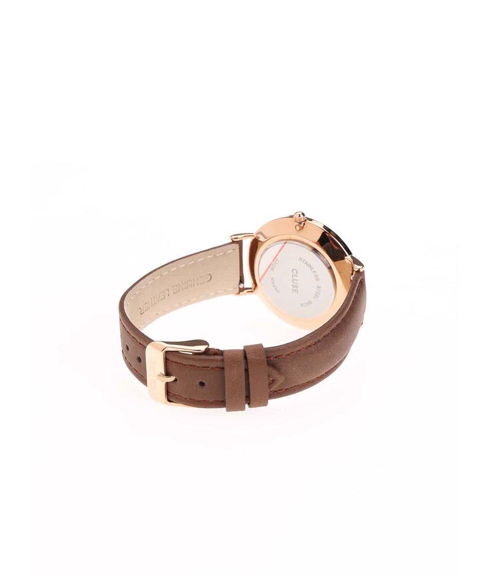 Bílé unisex hodinky s tmavě hnědým koženým páskem CLUSE La Bohème Rose Gold
