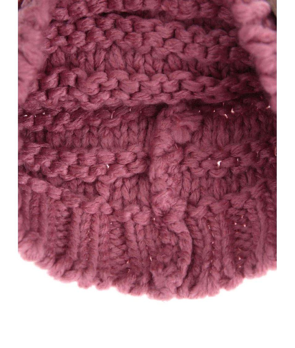 Růžová zimní čepice s nášivkou Roxy Sea Margin