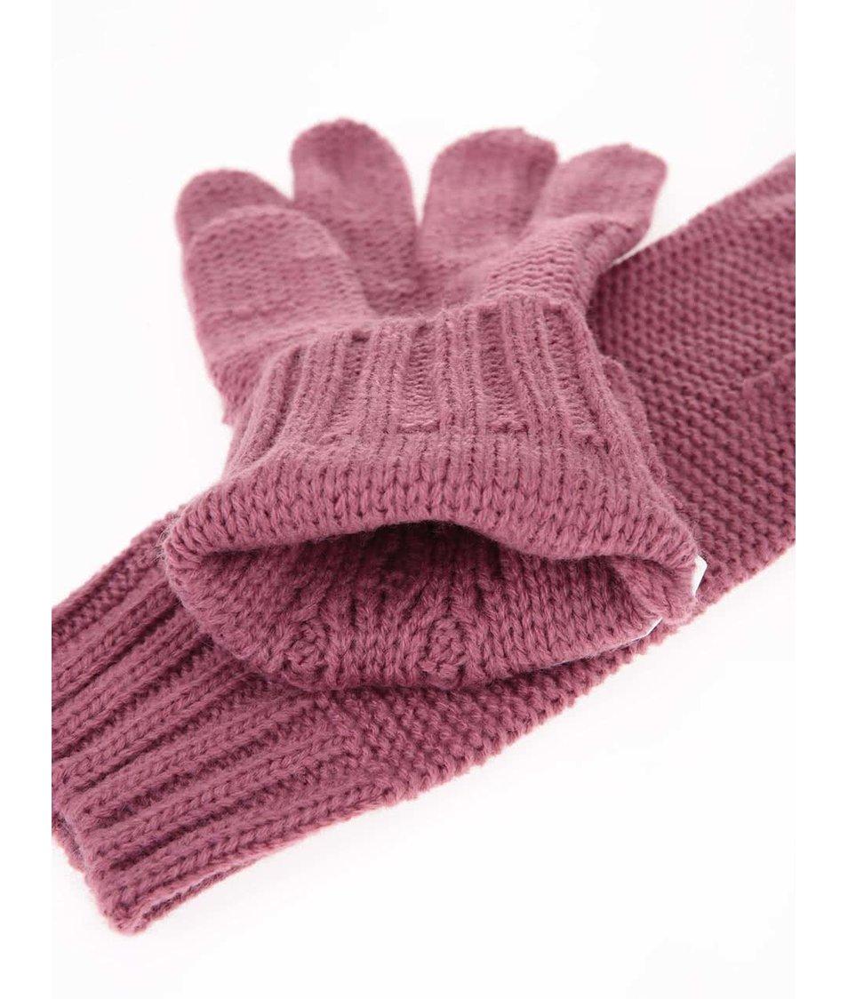 Růžové rukavice s nášivkou Roxy Reef Breaks