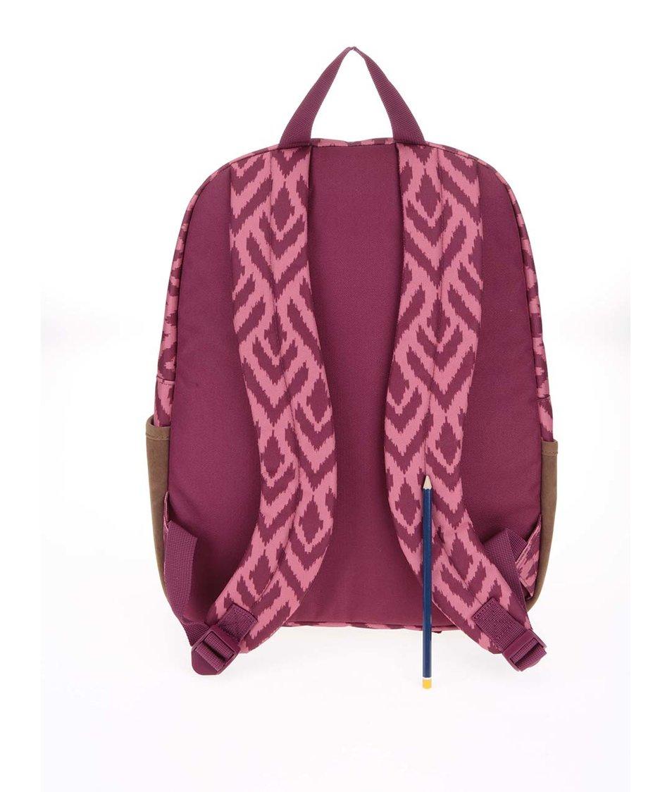 Hnědo-růžový batoh se vzorem Roxy Carribean