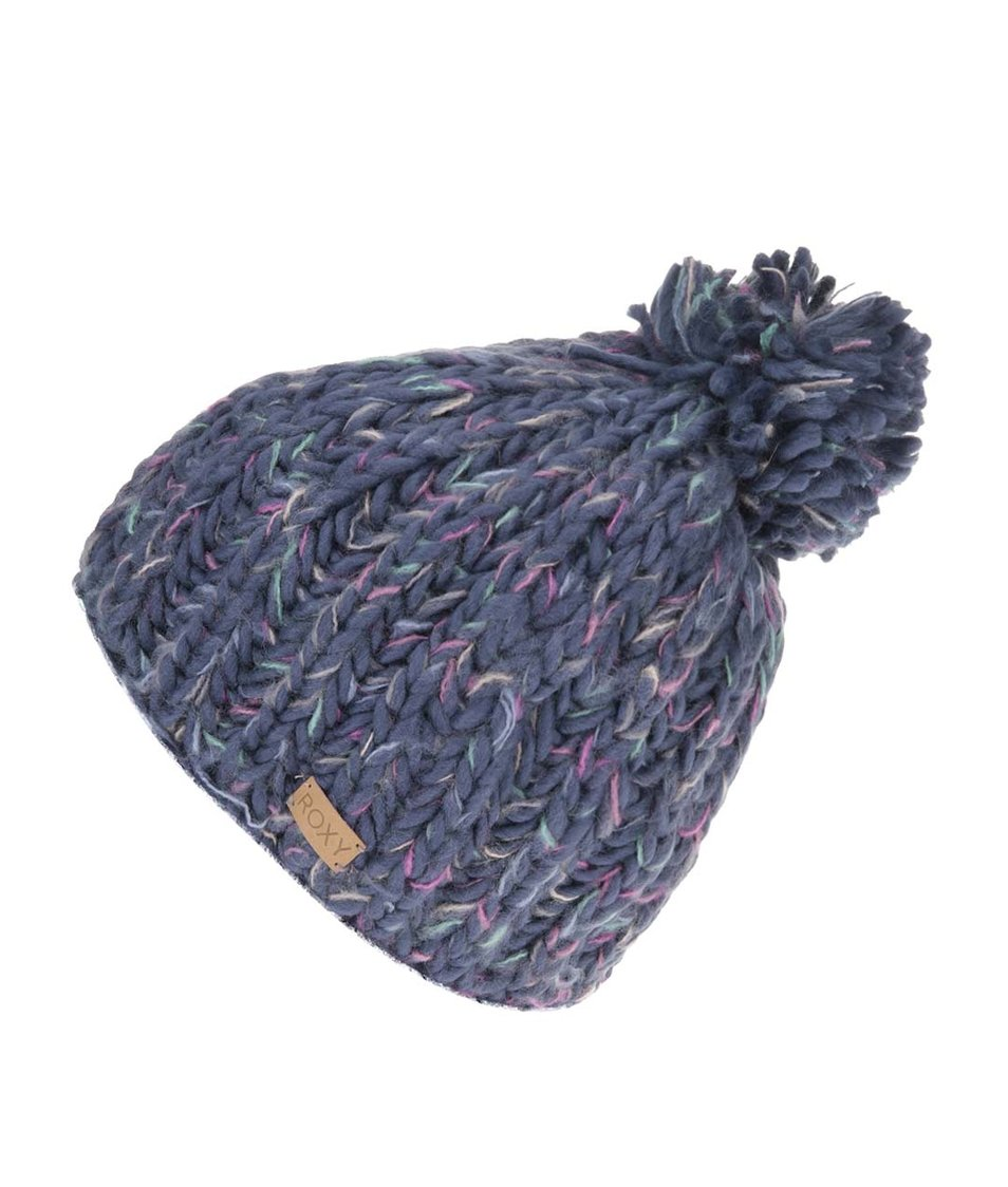 Modrá zimní čepice s barevnými detaily Roxy Nola Beanie
