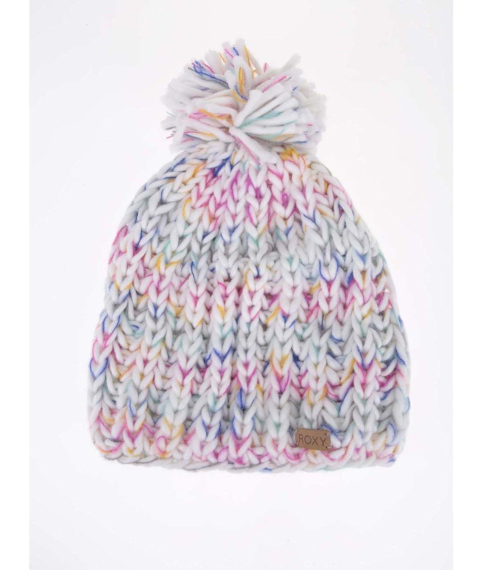 Bílá zimní čepice s barevnými detaily Roxy Nola Beanie