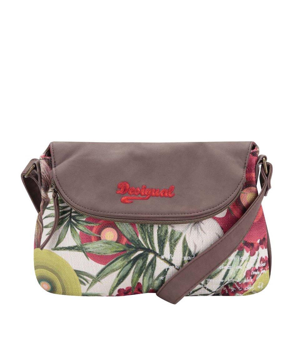 Krémovo-hnědá vzorovaná kabelka přes rameno Desigual
