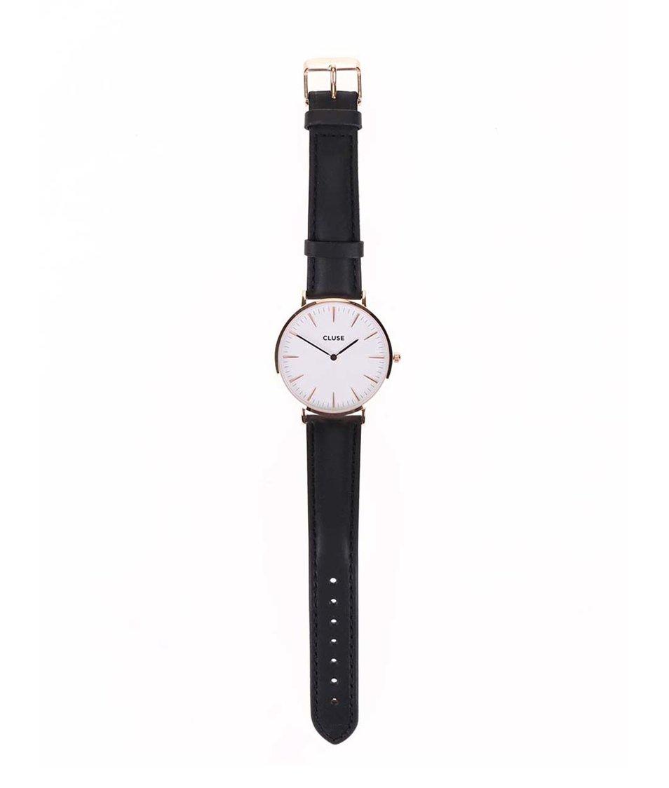 Bílo-černé unisex kožené hodinky CLUSE La Bohème Rose Gold