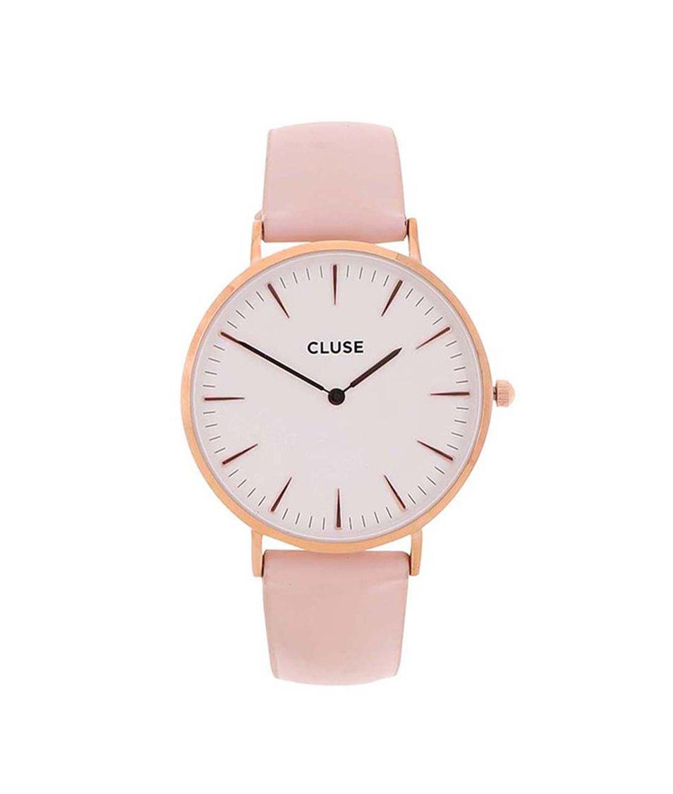 Bílo-růžové kožené hodinky CLUSE La Bohème Rose Gold