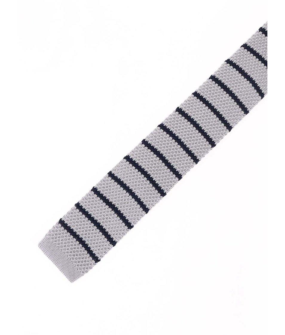 Šedá pletená kravata s modrými pruhy Selected Luca
