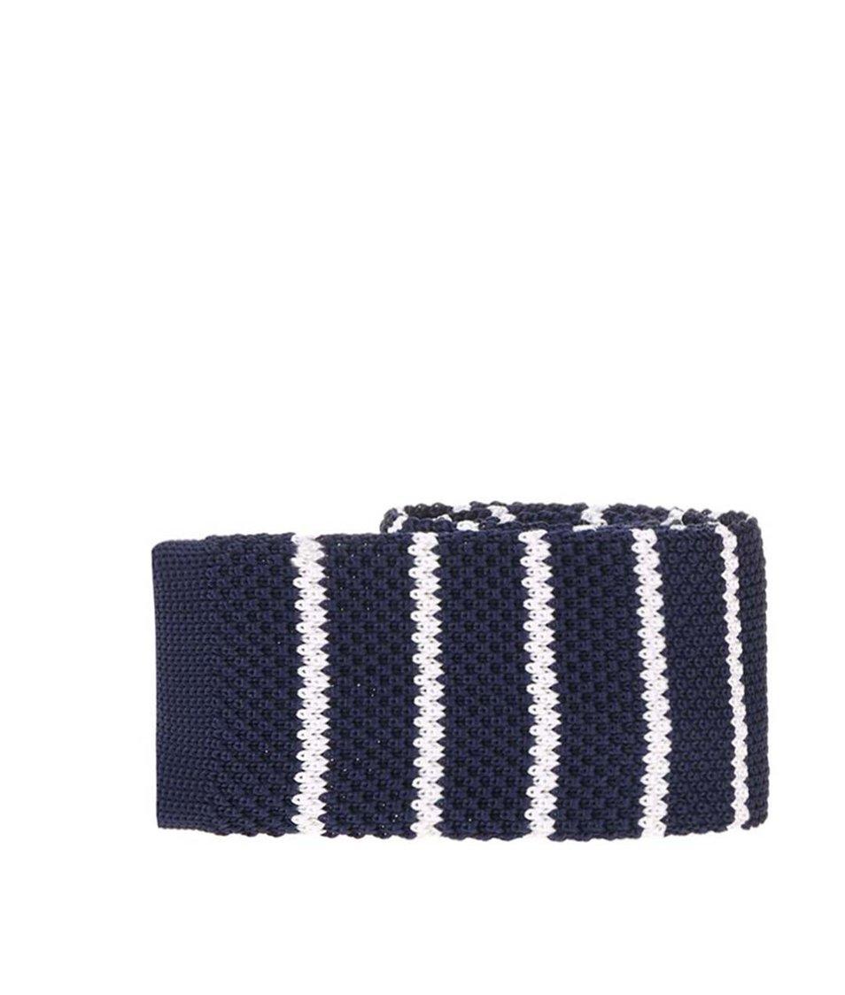 Tmavě modrá pletená kravata s bílými pruhy Selected Luca