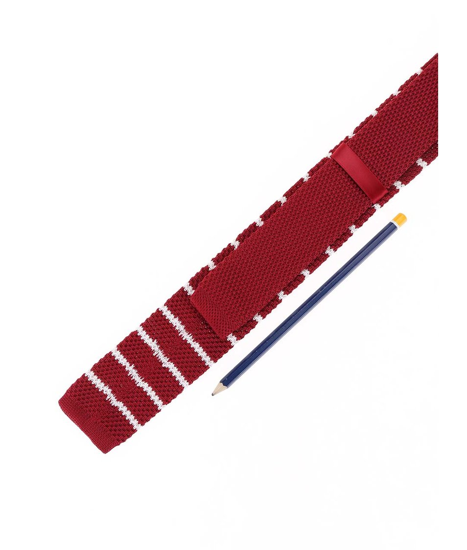Červená pletená kravata s bílými pruhy Selected Luca