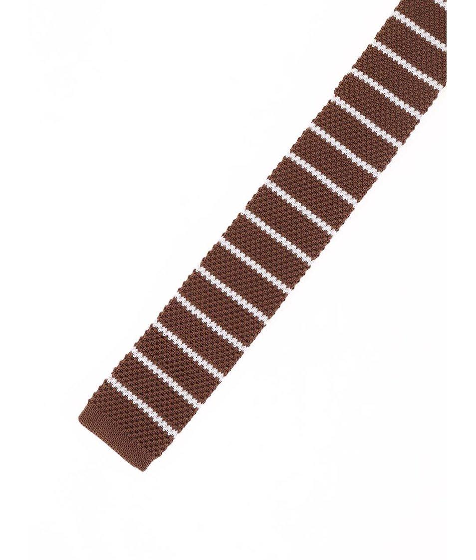Hnědá pletená kravata s běžovými pruhy Selected Luca