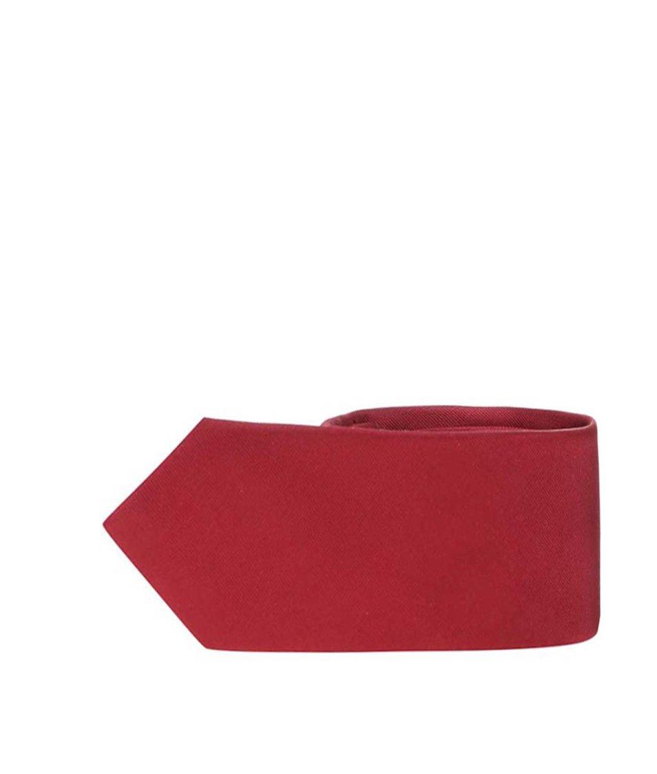 Vínová hedvábná kravata Selected Plain