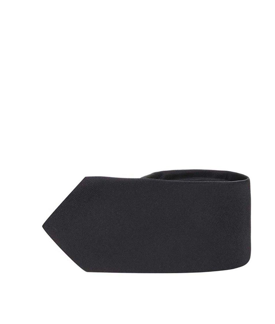 Černá hedvábná kravata Selected Plain