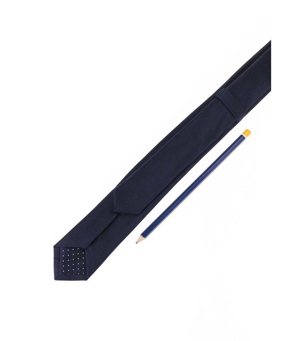 Tmavě modrá hedvábná kravata Selected Plain