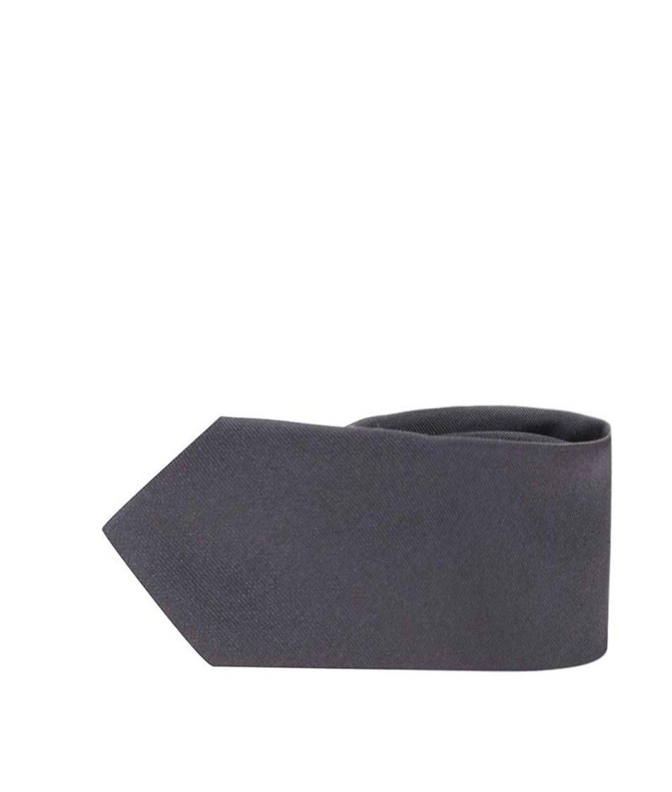 Tmavě šedá hedvábná kravata Selected Plain