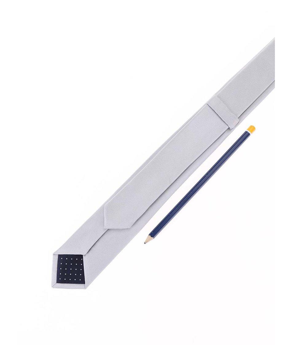 Hedvábná kravata ve stříbrné barvě Selected Plain