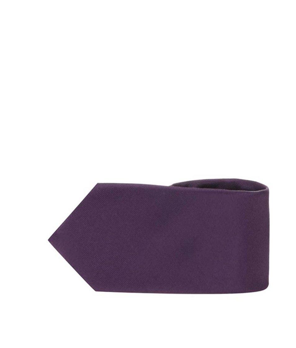Tmavě fialová hedvábná kravata Selected Plain