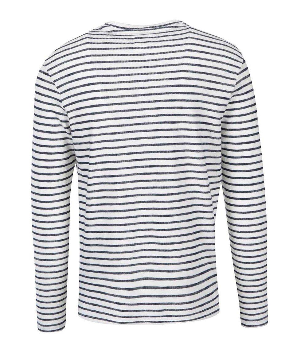 Krémovo-modré pruhované triko s dlouhým rukávem Selected Sail