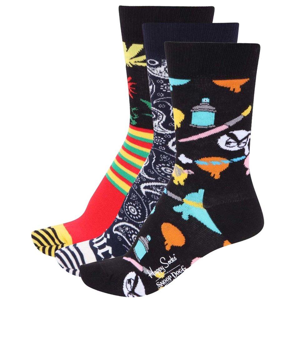 Sada tří párů barevných dámských ponožek Happy Socks Snoop Dogg