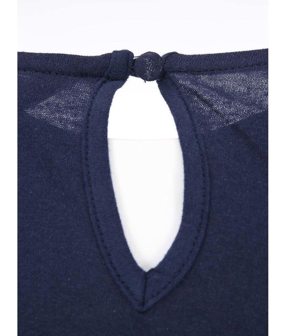 Tmavě modrý krajkovaný top Dorothy Perkins