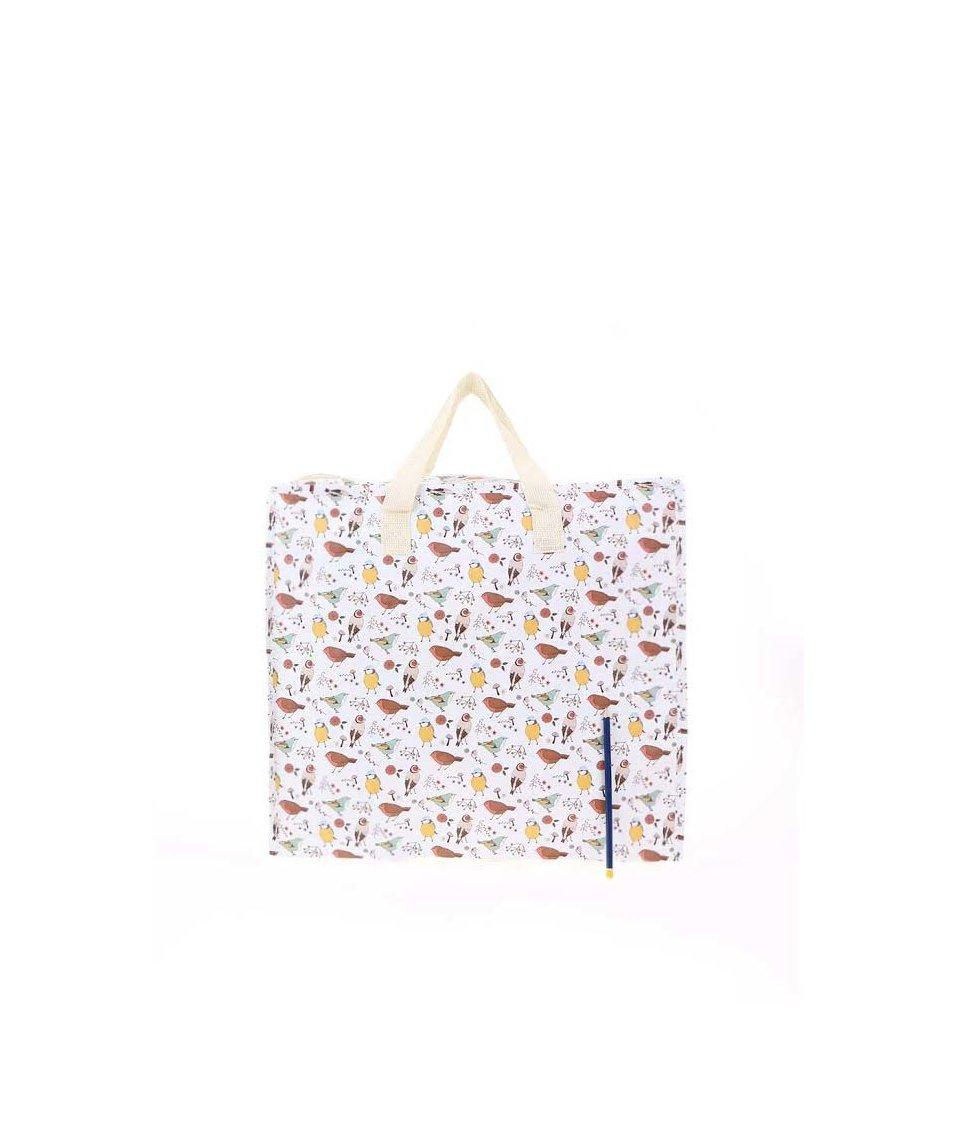 Bílá skládací taška s ptáčky Sass & Belle Birds