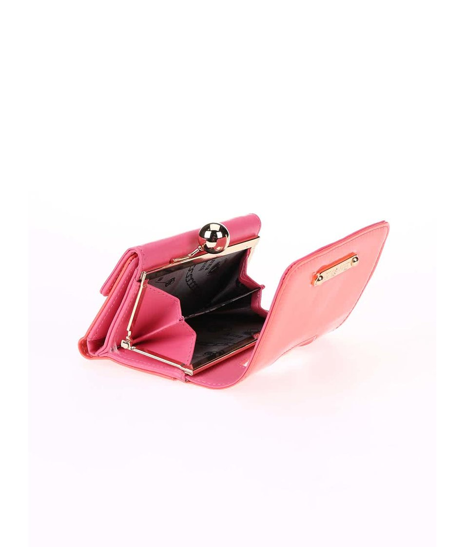 Korálová lakovaná peněženka s retro zapínáním Anna Smith