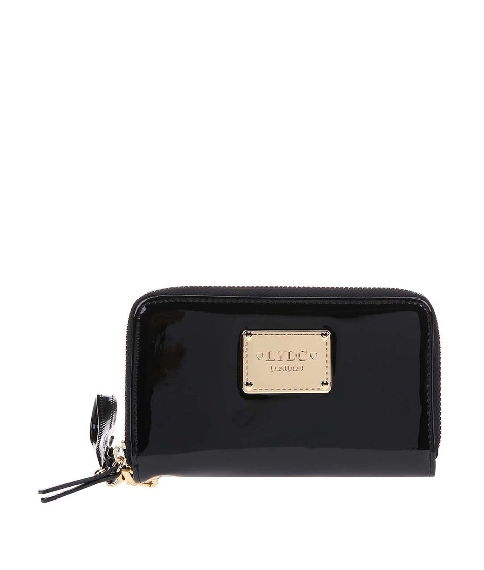 Černá lakovaná peněženka s poutkem LYDC