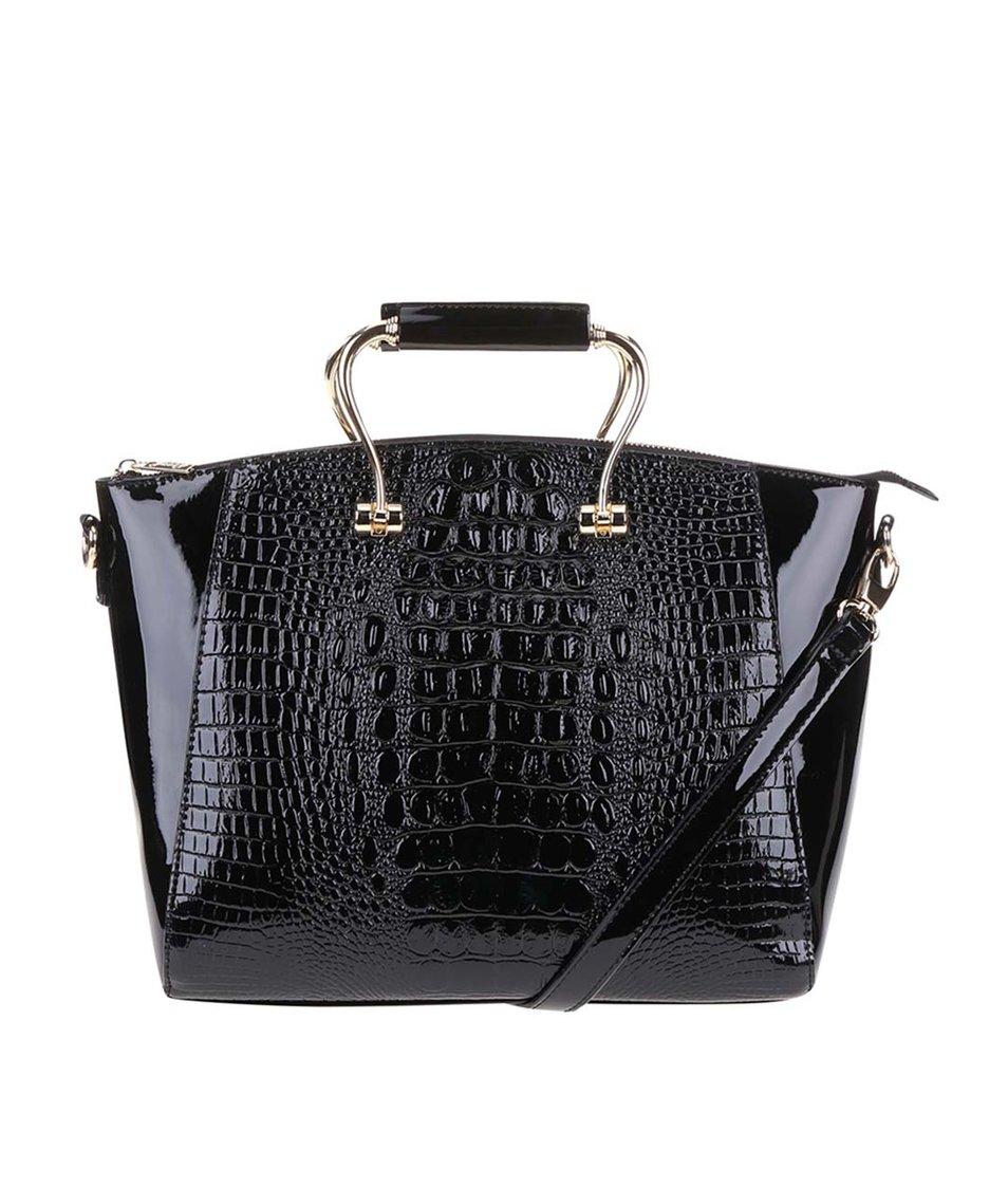 Černá lakovaná větší kabelka s detaily ve zlaté barvě Gessy