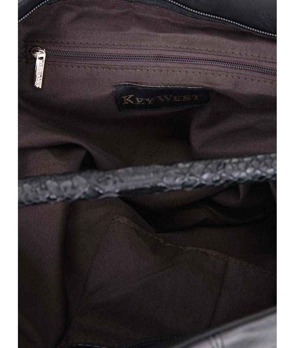 Černá větší kabelka s detaily z imitace hadí kůže Key West
