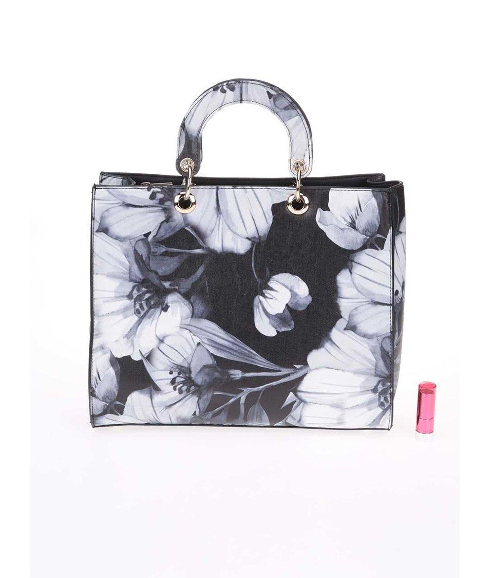 Bílo-černá větší kabelka s květinovým motivem Key West