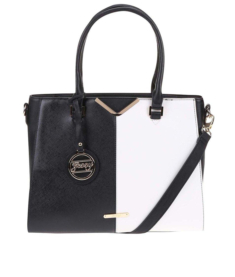 Bílo-černá obdelníková větší kabelka Gessy