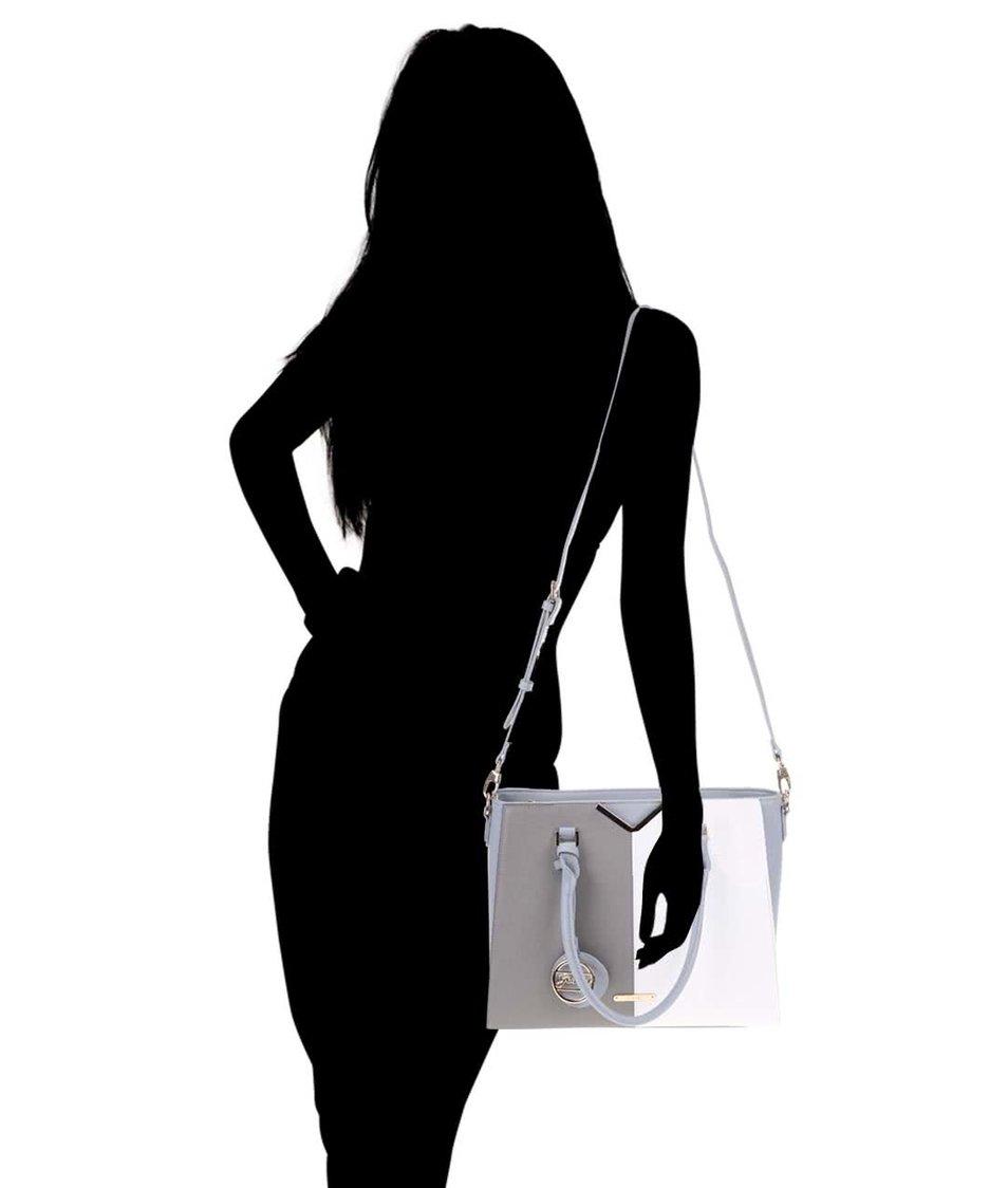 Bílo-šedá obdélníková větší kabelka Gessy
