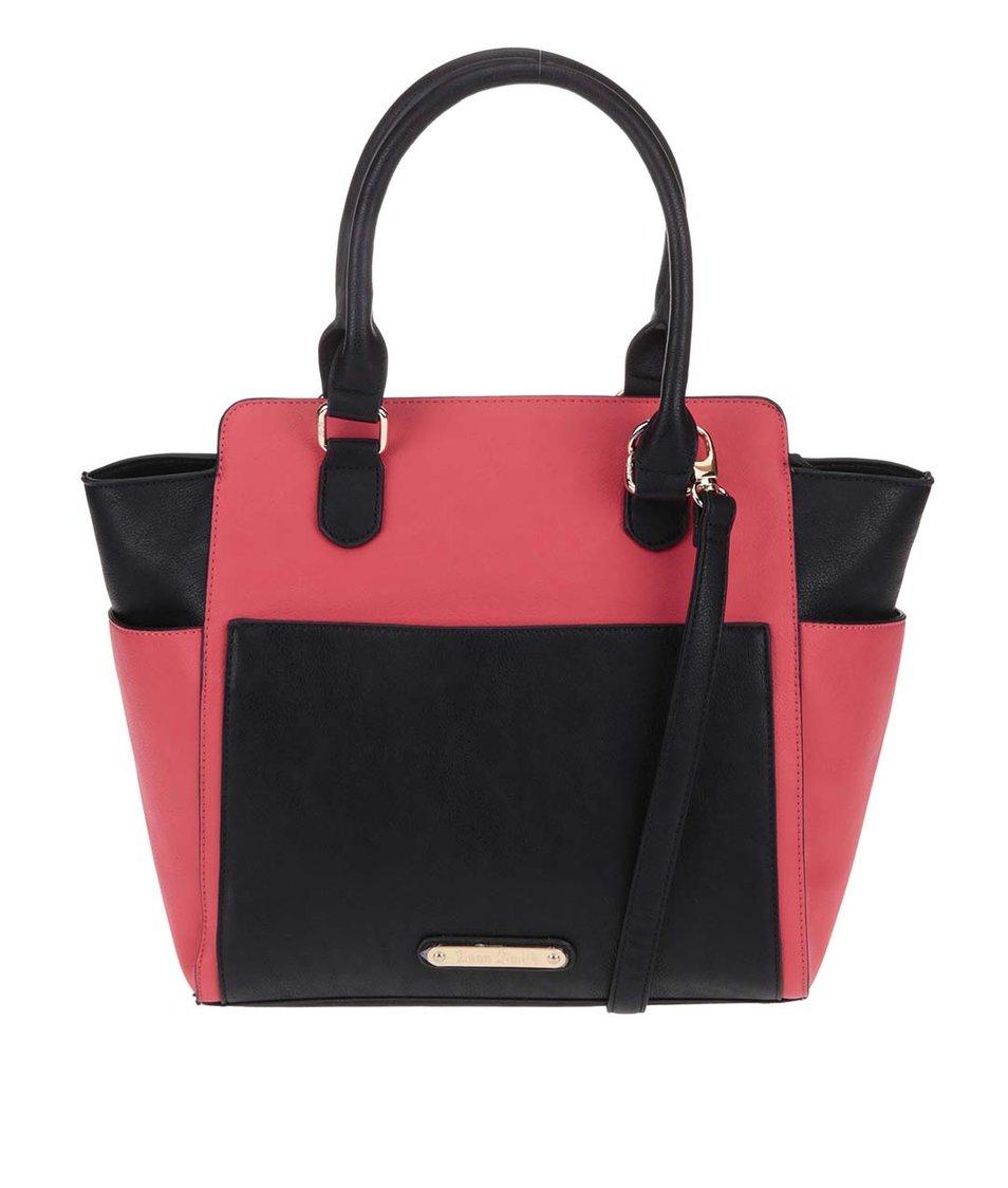 Černo-červená větší kabelka s odnímatelnou taštičkou Anna Smith