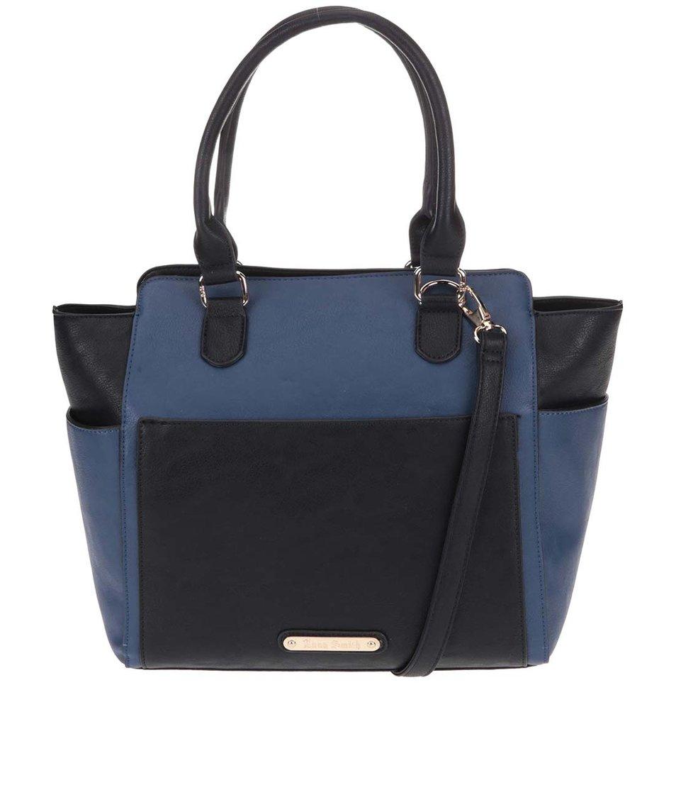 Černo-modrá větší kabelka s odnímatelnou taštičkou Anna Smith