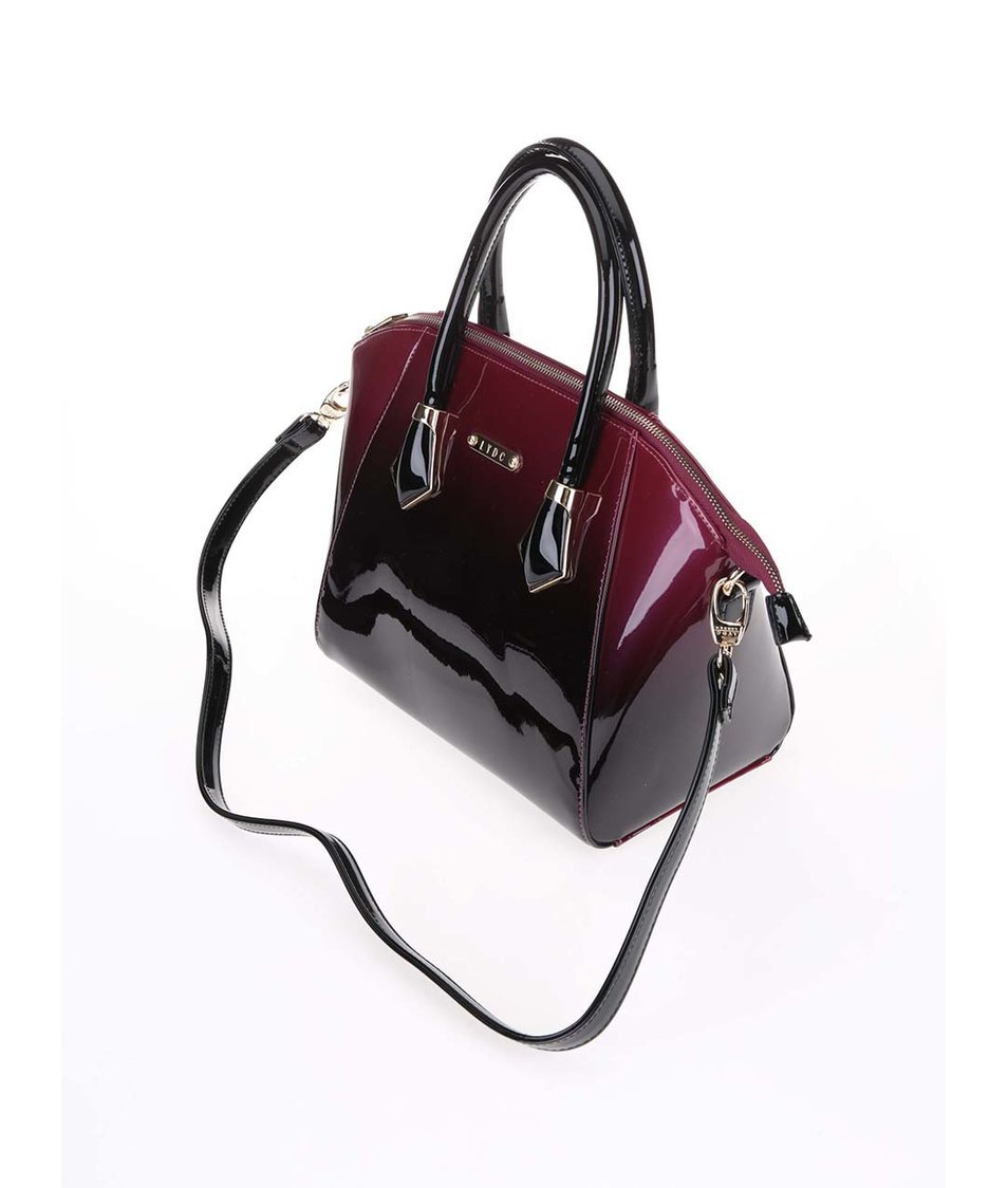 Černo-vínová ombré lakovaná menší kabelka LYDC