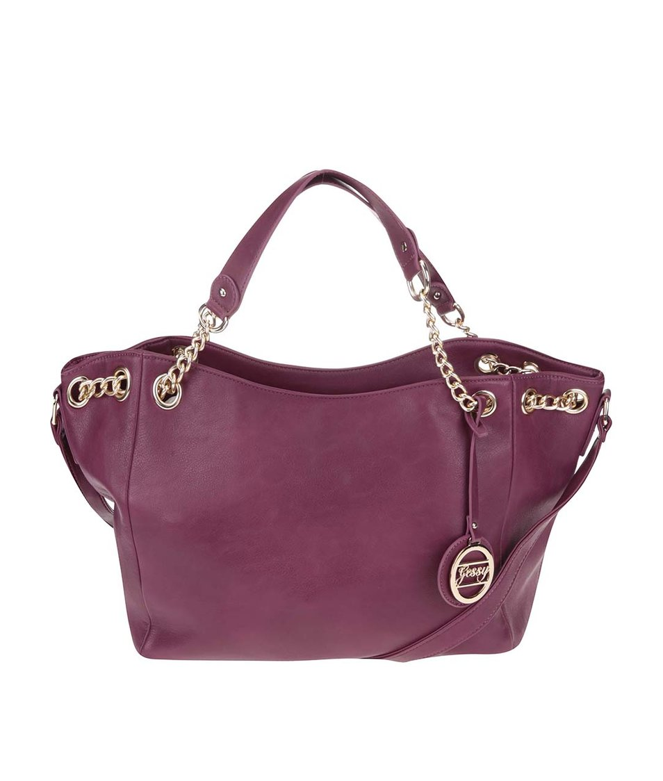 Růžovofialová větší kabelka s ozdobným přívěskem Gessy