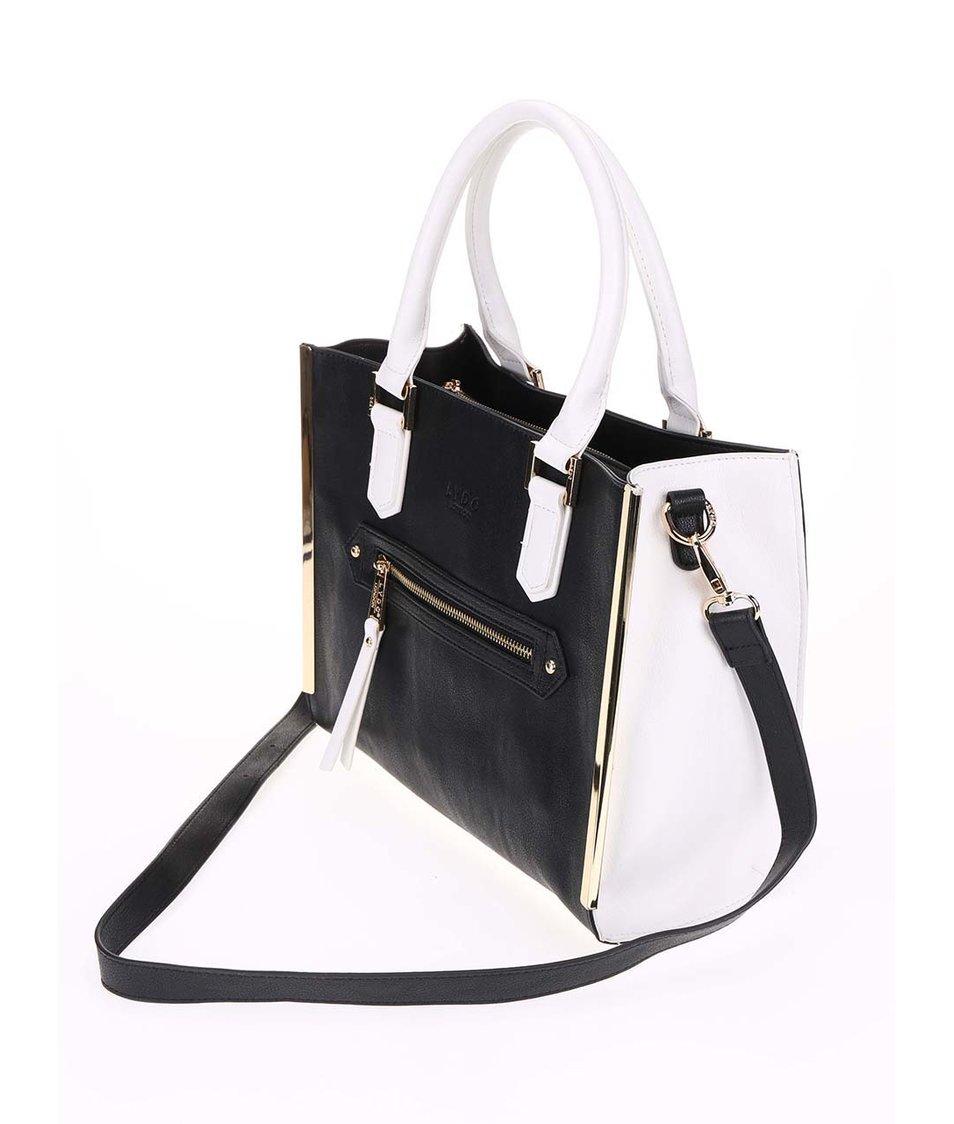 Černo-bílá obdelníková kabelka se zlatými detaily LYDC