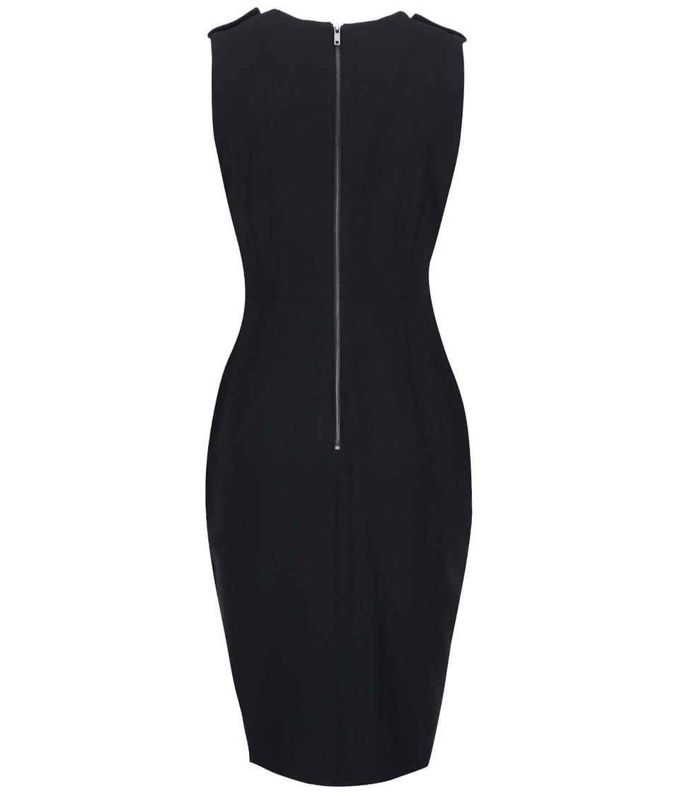 Černé šaty s koženkovými nárameníky Dorothy Perkins