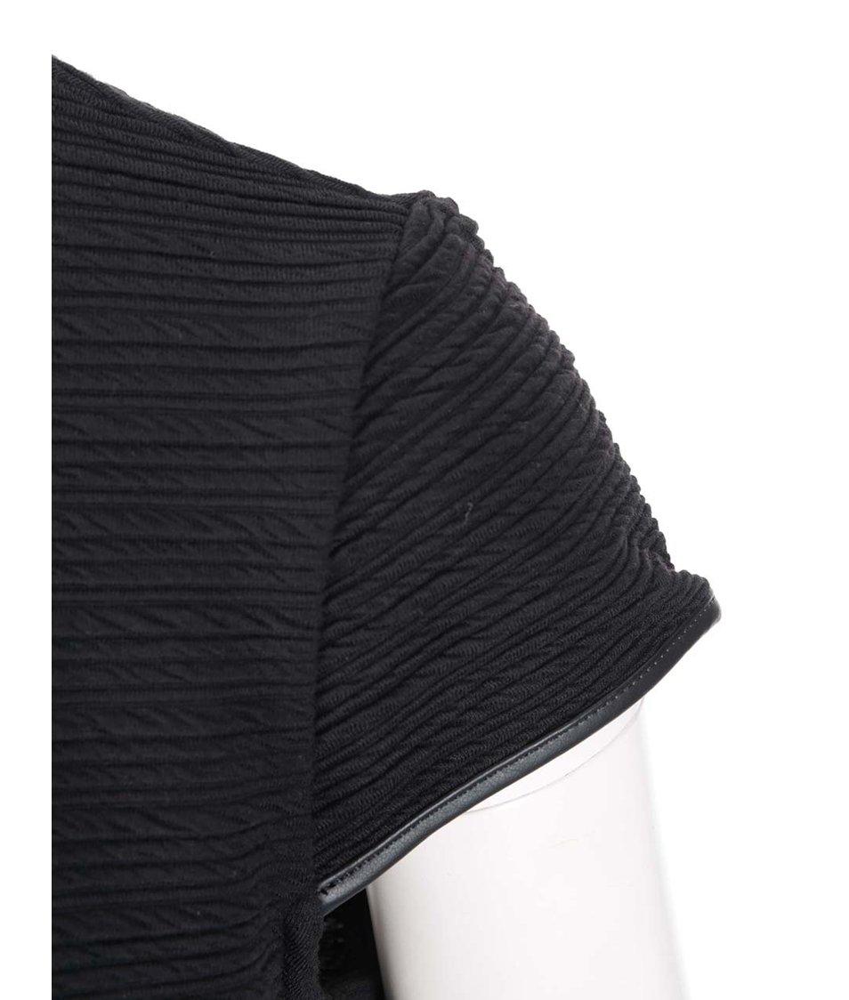Černé šaty s koženkovým detailem Dorothy Perkins