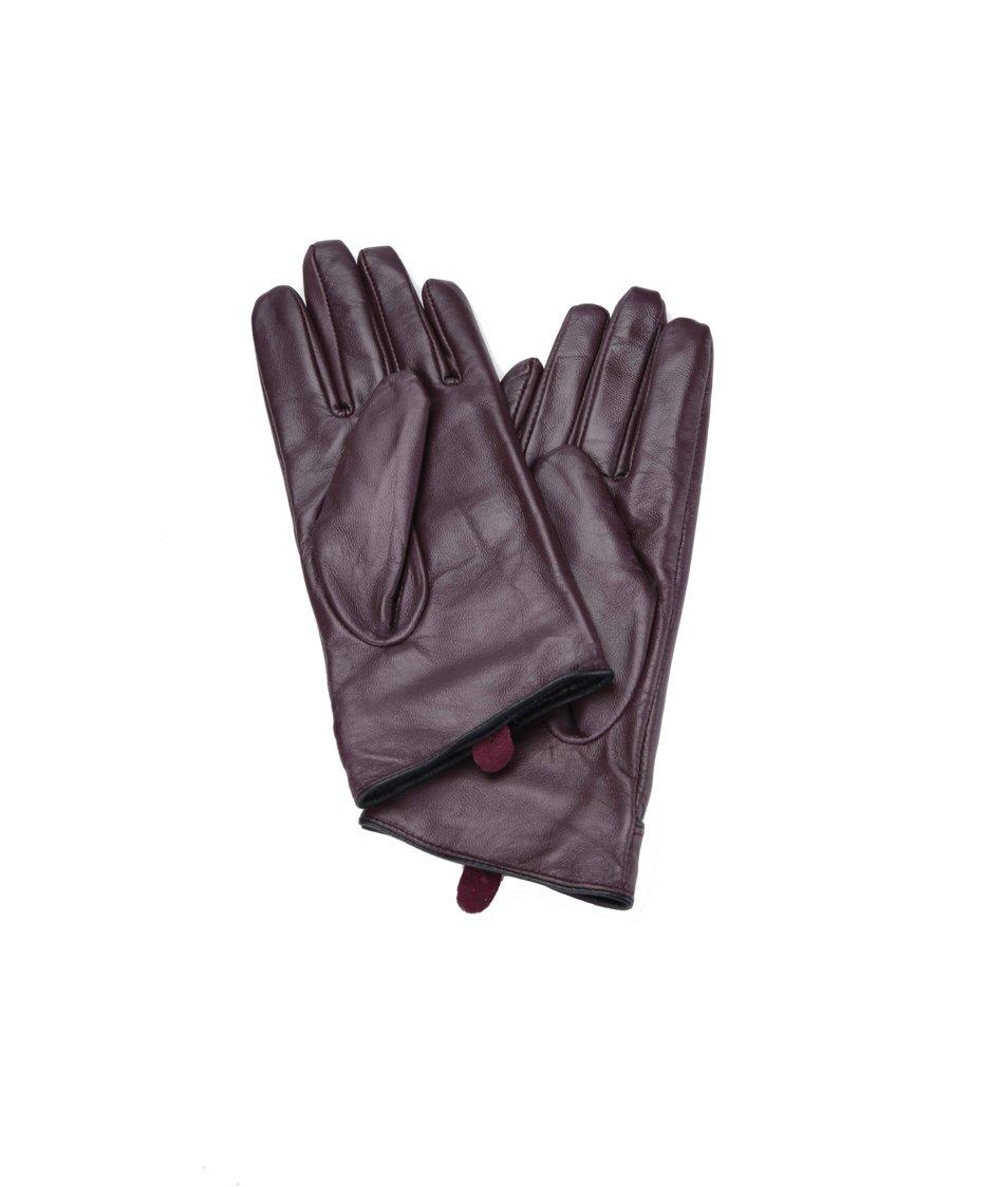 Vínové kožené lesklé rukavice Dorothy Perkins
