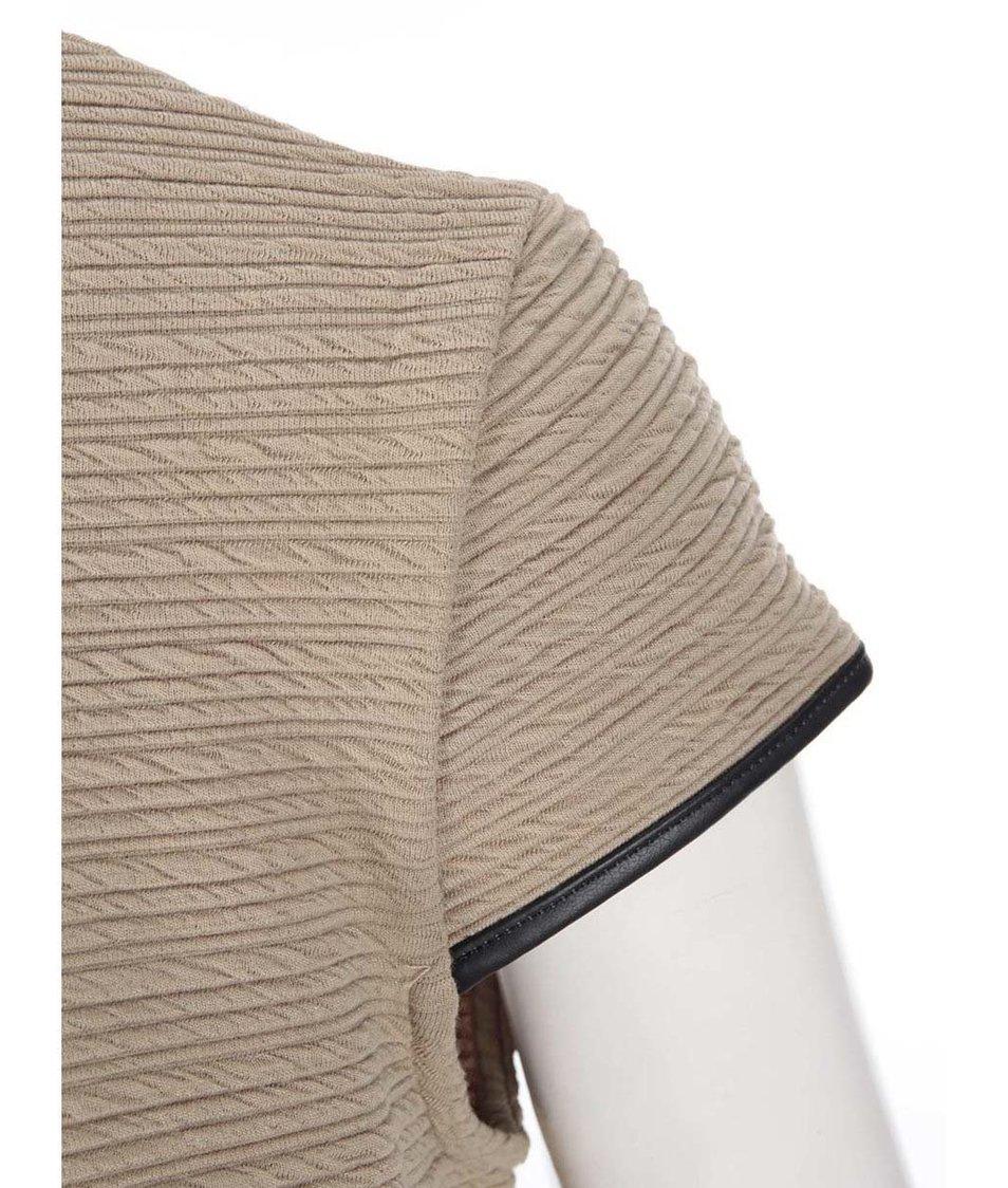 Světle hnědé šaty s koženkovým detailem Dorothy Perkins