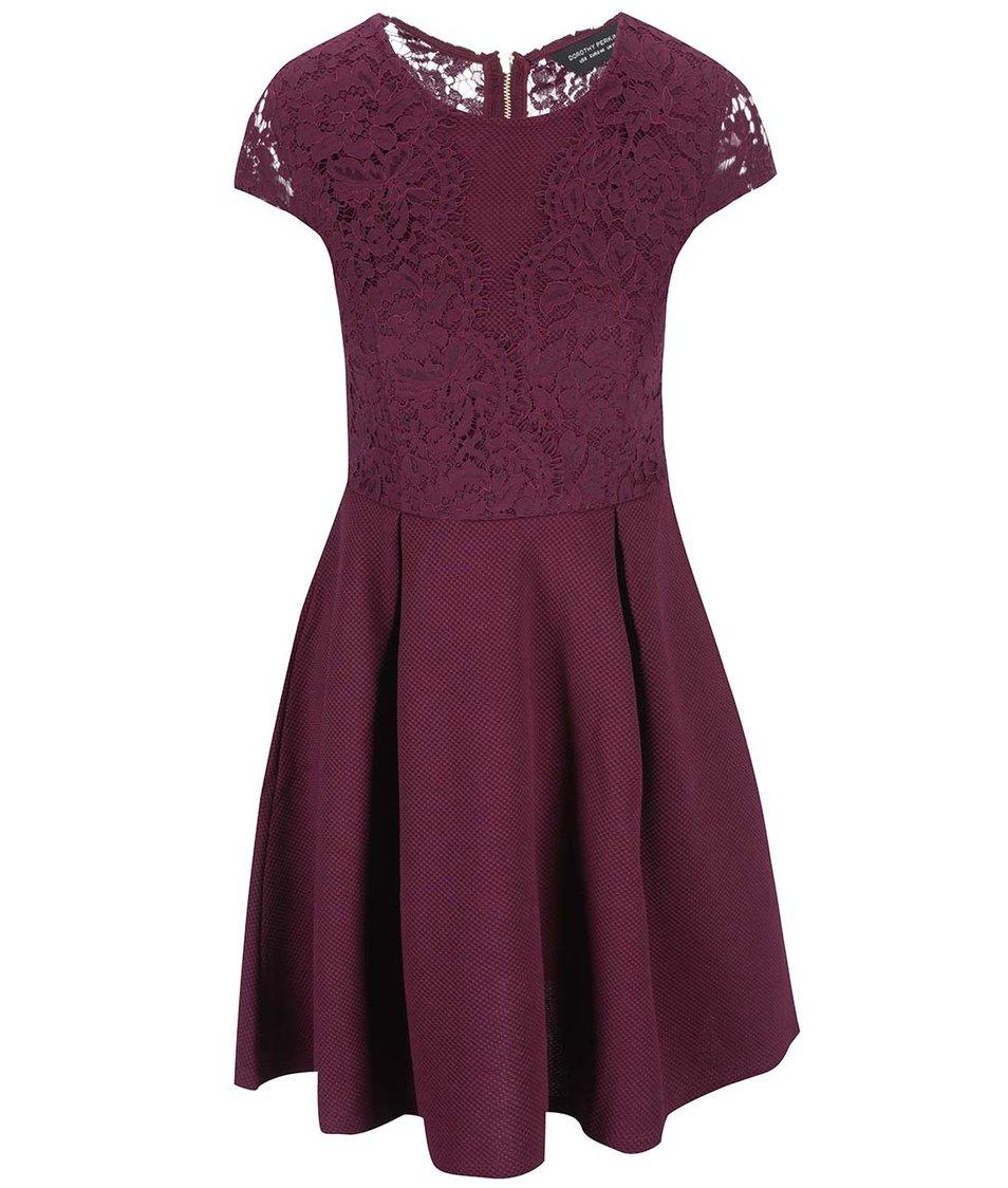 Červené šaty s krajkovaným topem Dorothy Perkins
