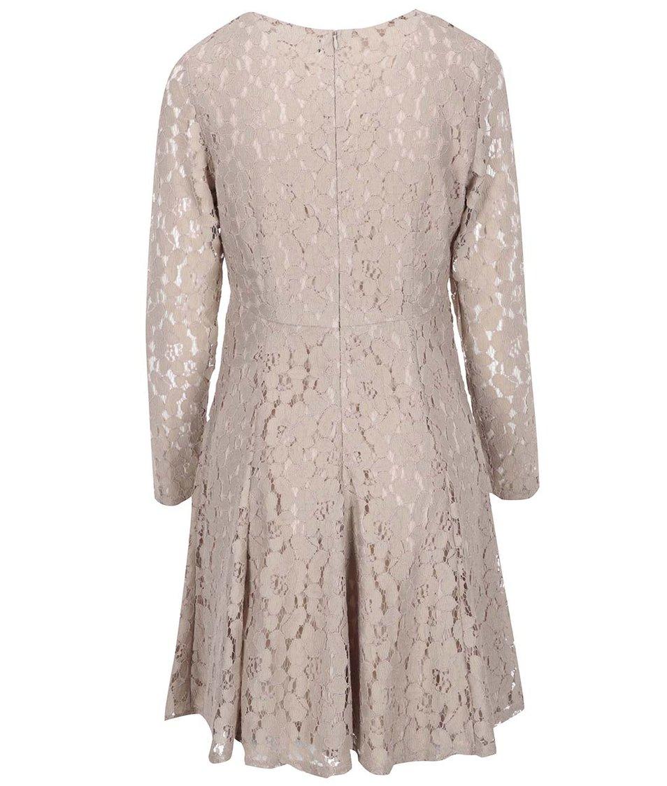 Krémové krajkované šaty s dlouhým rukávem Dorothy Perkins