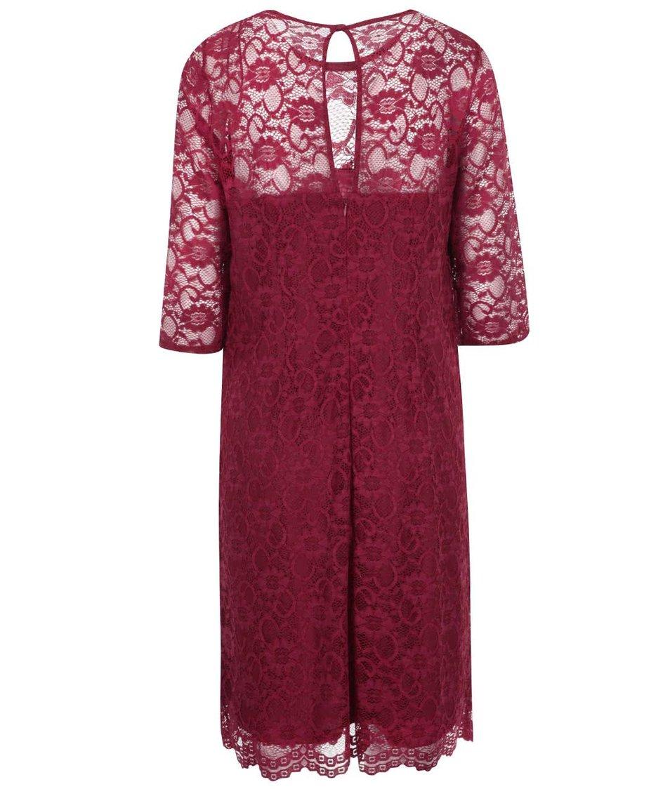Červené krajkované šaty s 3/4 rukávy Dorothy Perkins Curve
