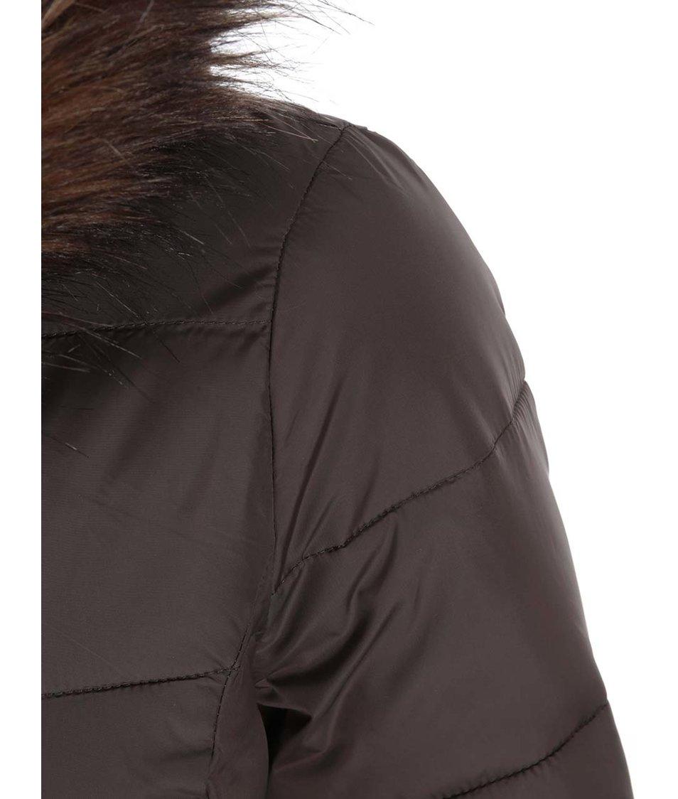 Hnědý prošívaný kabát s kožíškem Dorothy Perkins