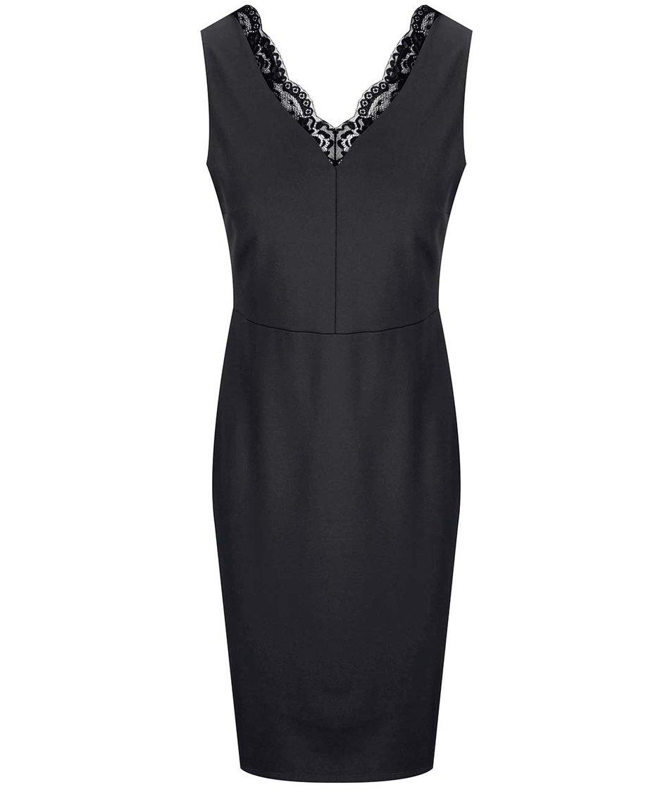 Černé šaty s krajkovým detailem Dorothy Perkins
