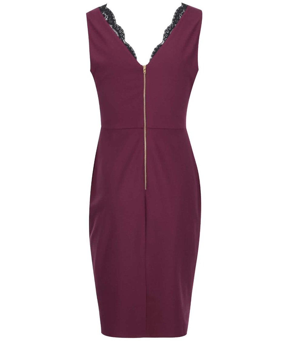 Vínové šaty s krajkovým detailem Dorothy Perkins