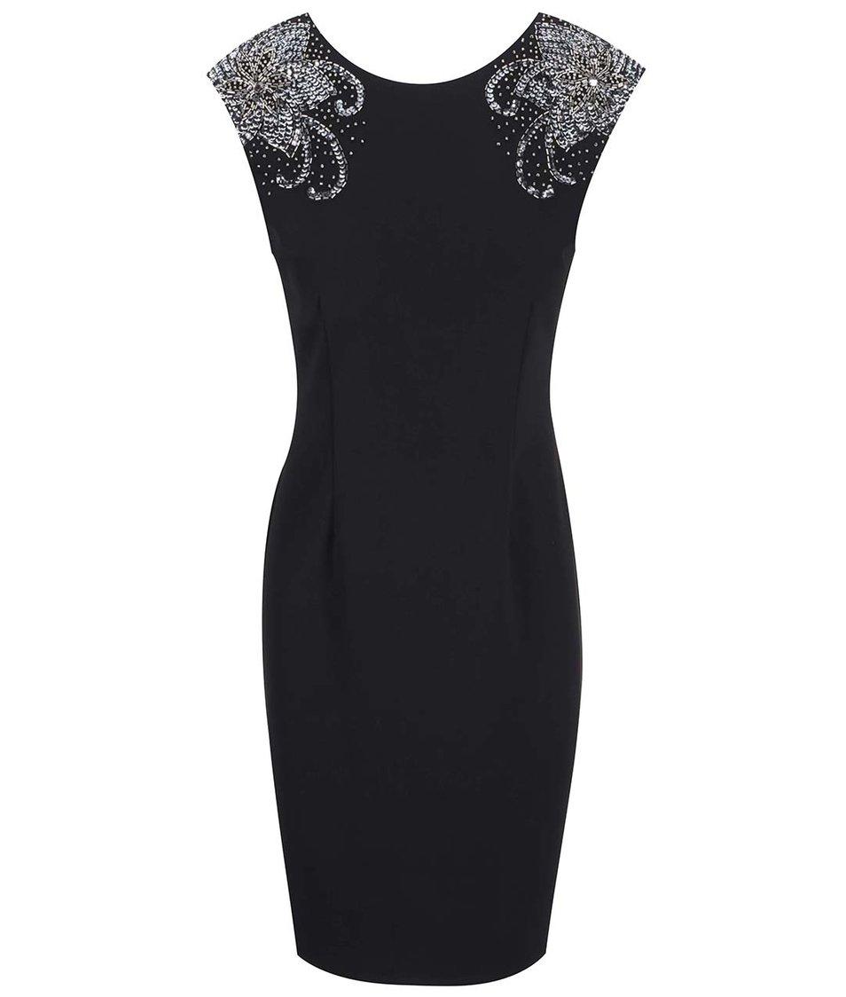 Černé šaty s ozdobnými rameny Dorothy Perkins