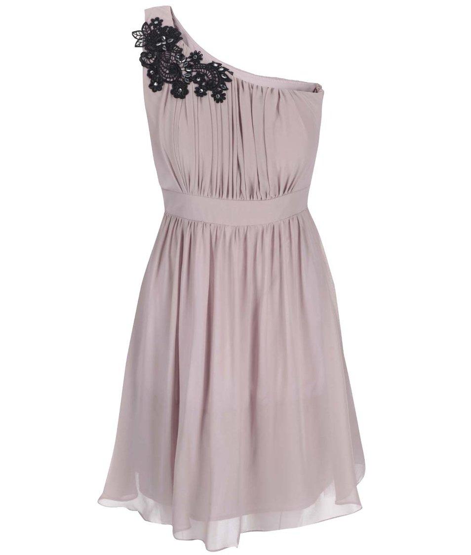 Starorůžové šaty přes jedno rameno Dorothy Perkins