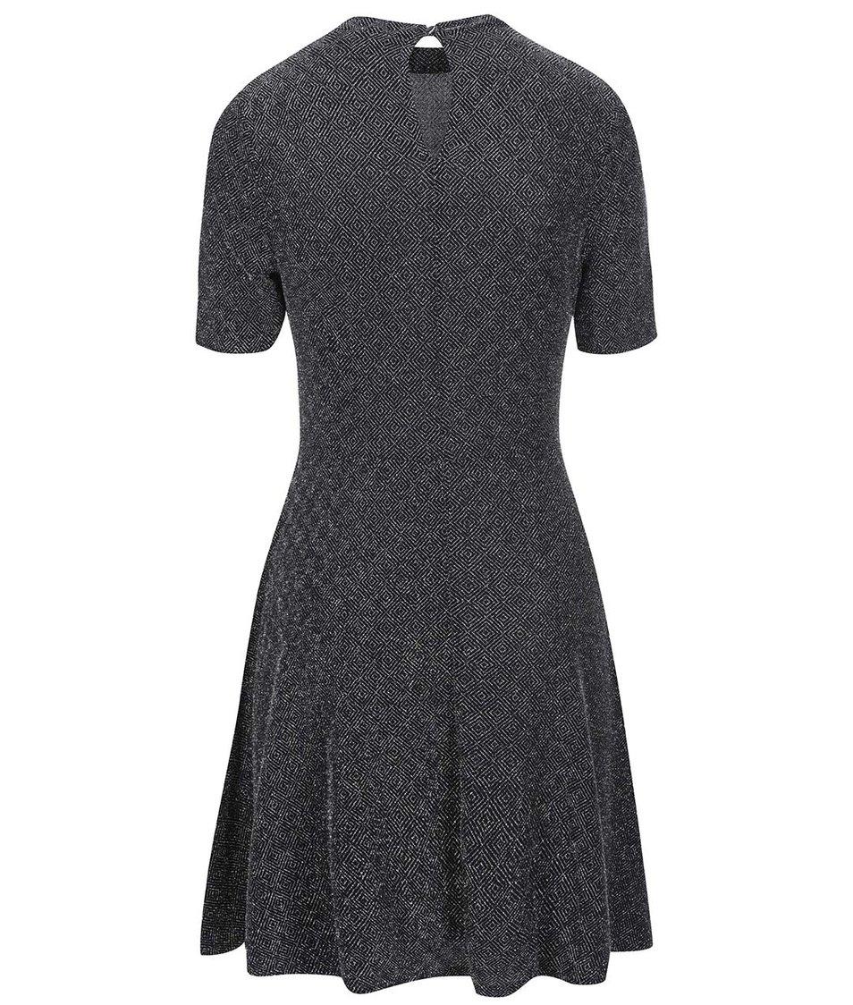 Metalické šaty ve stříbrné barvě Dorothy Perkins