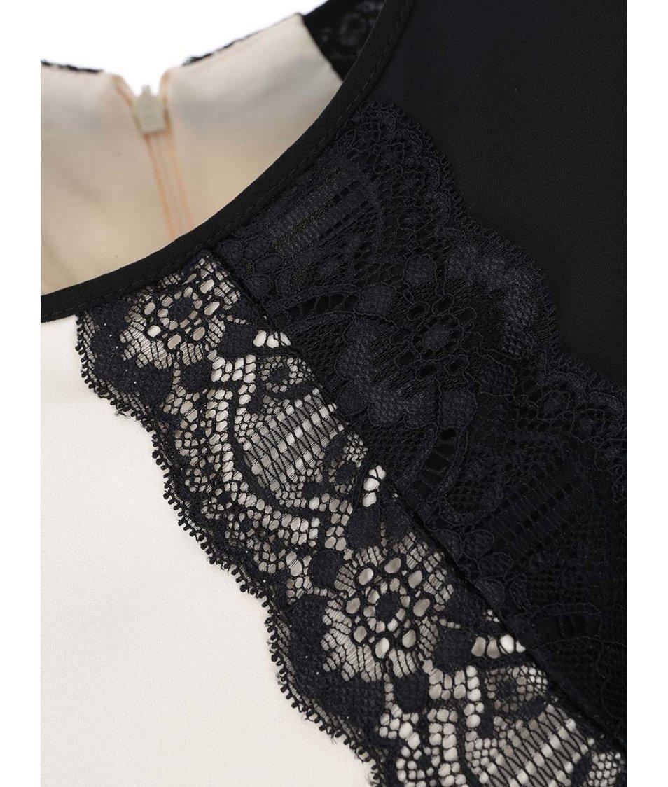Černo-krémový overal s detailem krajky Dorothy Perkins