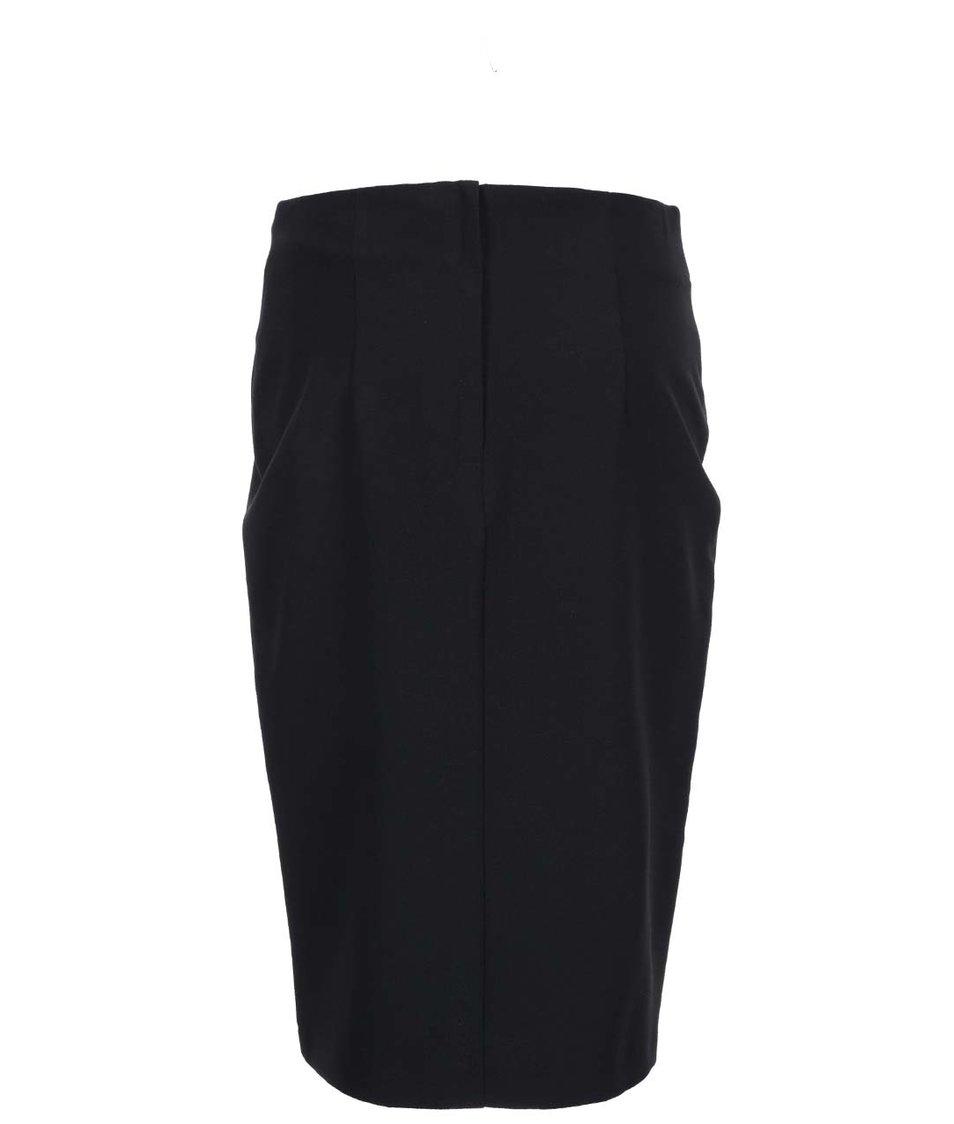 Černá midi sukně s koženkovými detaily Dorothy Perkins